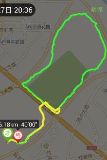 2015年7月7日(周二)20:30夜跑飞来湖小圈3k