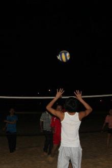 霞山渔港公园打沙滩排球